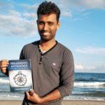 Ashwin Balaji on the coastal line of the Bay of Bengal, in Chennai, India